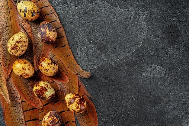Ovos de codorna páscoa em penas em fundo escuro