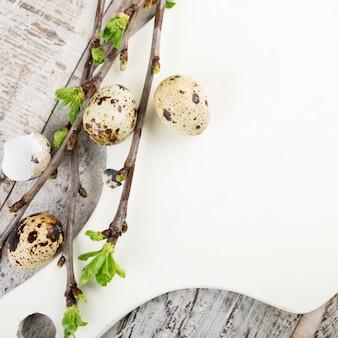 Ovos de codorna, ramos verdes e placa de corte branca