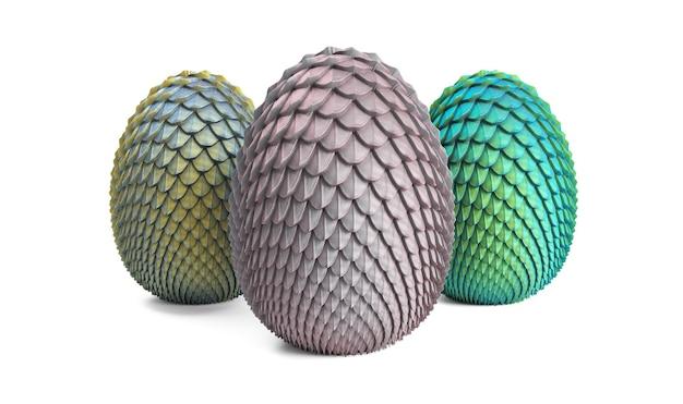 Ovos de dragão renderizados em 3d em um fundo cinza 3 ovos de nascituros