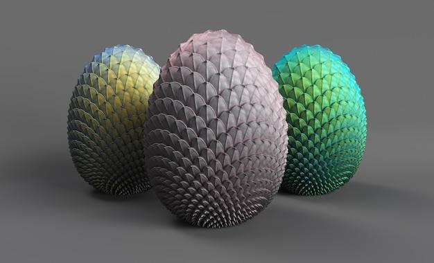 Ovos de dragão renderizados em 3d em um fundo cinza 3 ovos