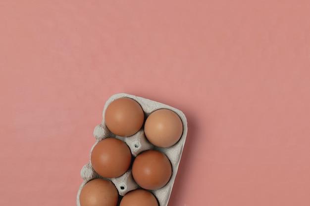 Ovos de galinha crua em recipiente de papelão em coral vivo