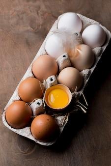 Ovos de galinha fresca de close-up