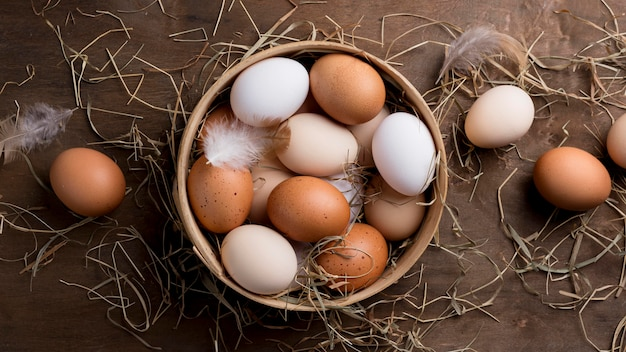 Ovos de galinha fresca vista superior