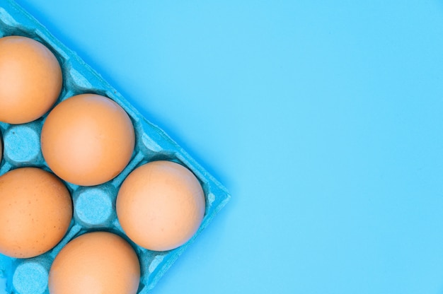 Ovos de galinha marrom cru sobre fundo azul.