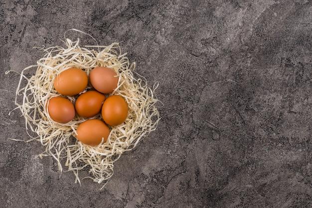 Ovos de galinha marrom no ninho na mesa