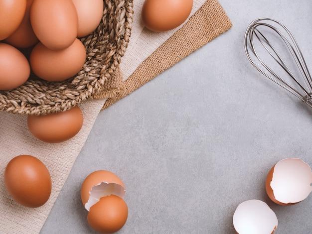 Ovos de galinha orgânicos ingredientes alimentares