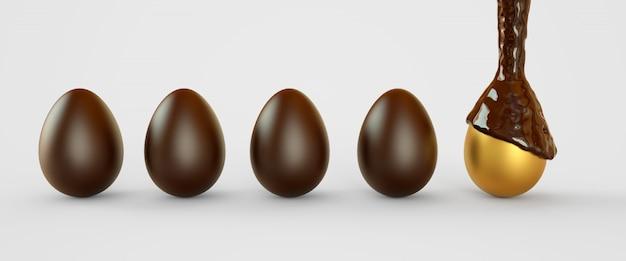 Ovos de ouro no chocolate. ovos de páscoa. ilustração de renderização 3d.
