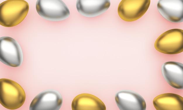 Ovos de páscoa brilhantes ouro, prata sobre fundo rosa pastel com espaço para texto.