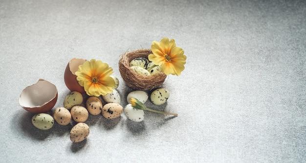 Ovos de páscoa coloridos e flores violetas amarelas