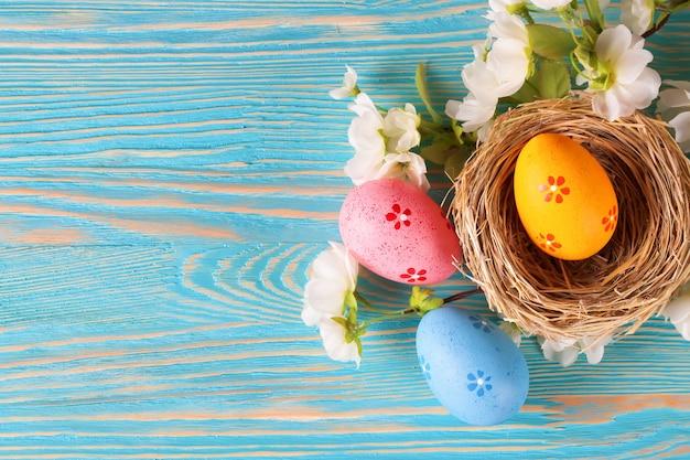 Ovos de páscoa coloridos em um ninho e ramo com flores sobre fundo azul de madeira. vista do topo