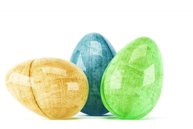 Ovos de páscoa coloridos isolados no branco