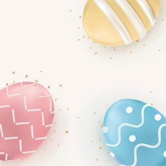Ovos de páscoa com borda 3d em pastel colorido sobre fundo bege de celebração
