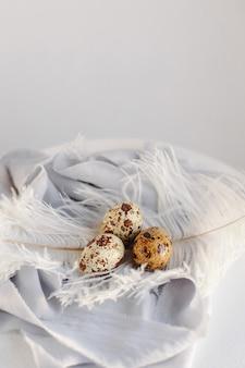 Ovos de páscoa com penas brancas em fundo branco e cinza. feliz feriado da páscoa, vista frontal e superior.