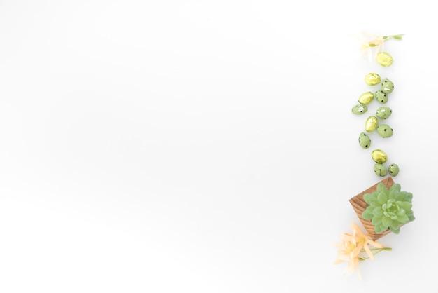 Ovos de páscoa de chocolate pequeno com planta verde na mesa