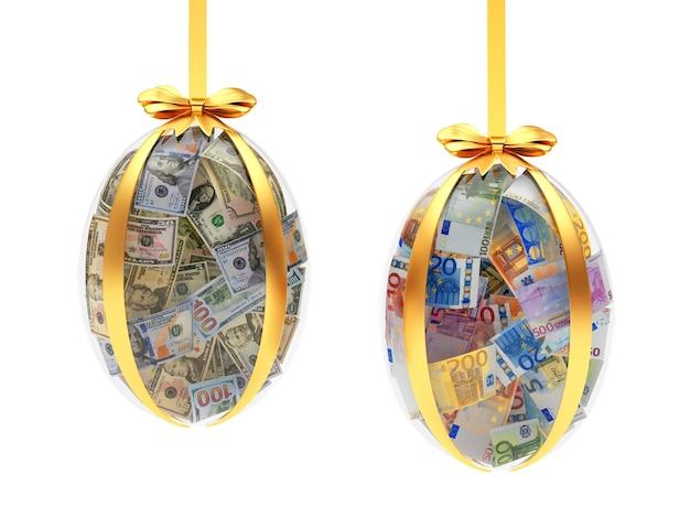 Ovos de páscoa de vidro cheios de notas de dólar e euro. 3d