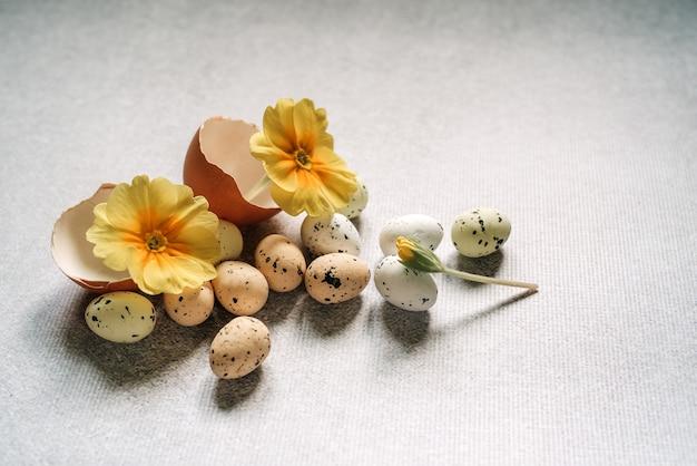 Ovos de páscoa e flores violetas amarelas