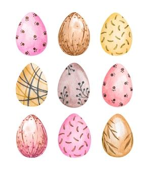 Ovos de páscoa em aquarela de conjunto isolado, ovos pintados, arte de ovos coloridos
