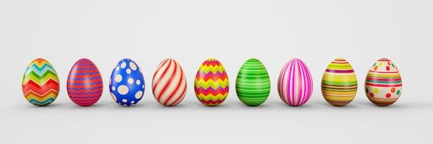 Ovos de páscoa em um fundo branco. ovos de páscoa. ilustração de renderização 3d.