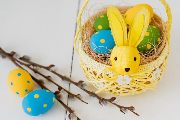 Ovos de páscoa em uma cesta