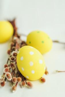 Ovos de páscoa, flores da primavera e salgueiro em fundo branco