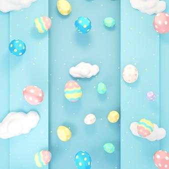 Ovos de páscoa fofos com fundo 3d renderizado imagem