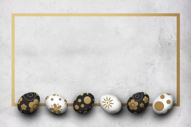 Ovos de páscoa no fundo do chão de cimento