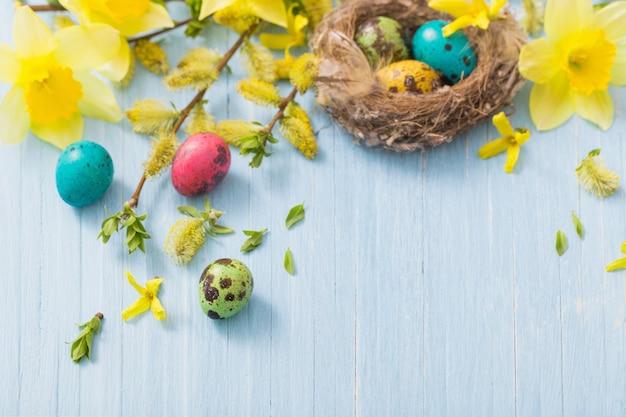 Ovos de páscoa no ninho com flores da primavera em fundo de madeira