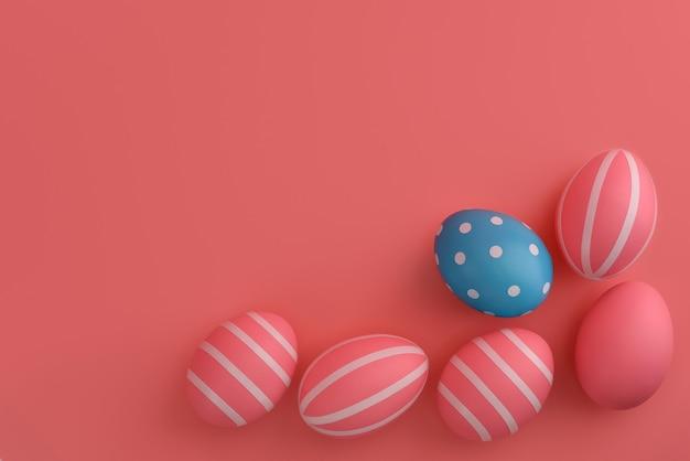 Ovos de páscoa. ovos cor de rosa com listras ao redor de um azul em círculos.