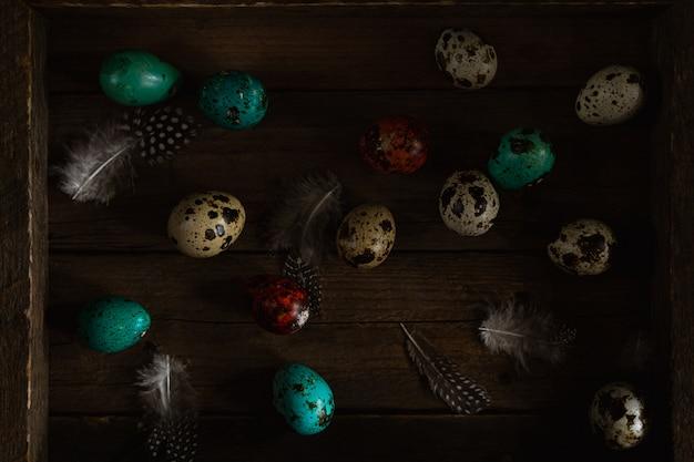 Ovos e penas de codorna vermelho e verde-azulado