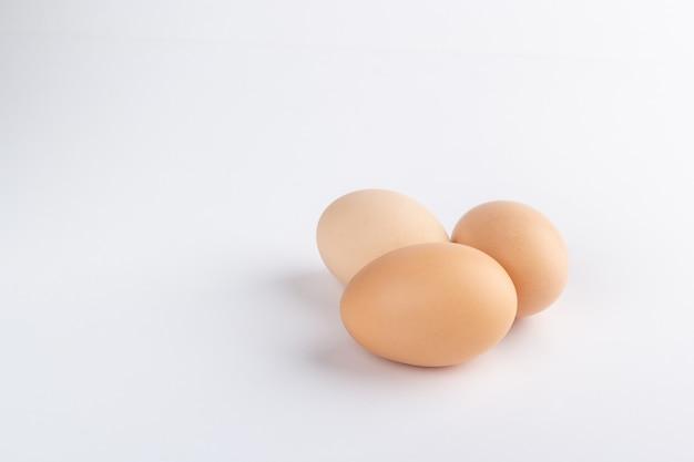 Ovos em fundo branco isolados