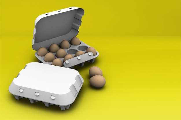 Ovos marrons de frango em caixa de papelão