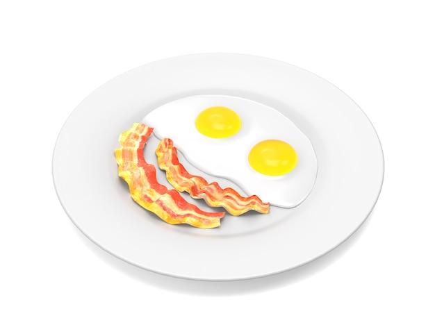 Ovos mexidos e bacon no prato isolado