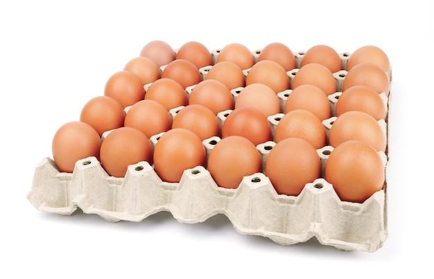 Ovos na bandeja de papel isolados no branco
