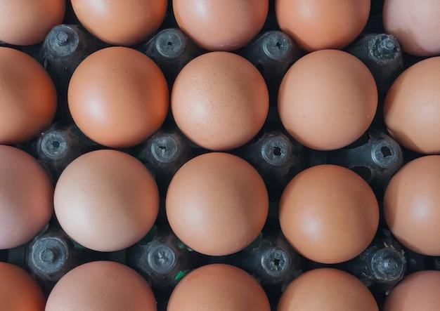 Ovos na bandeja de plástico.
