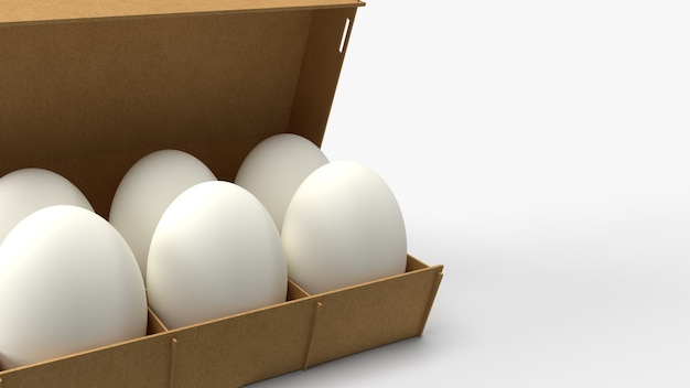 Ovos na caixa de papel na rendição branca do fundo 3d para conteúdos alimentares.