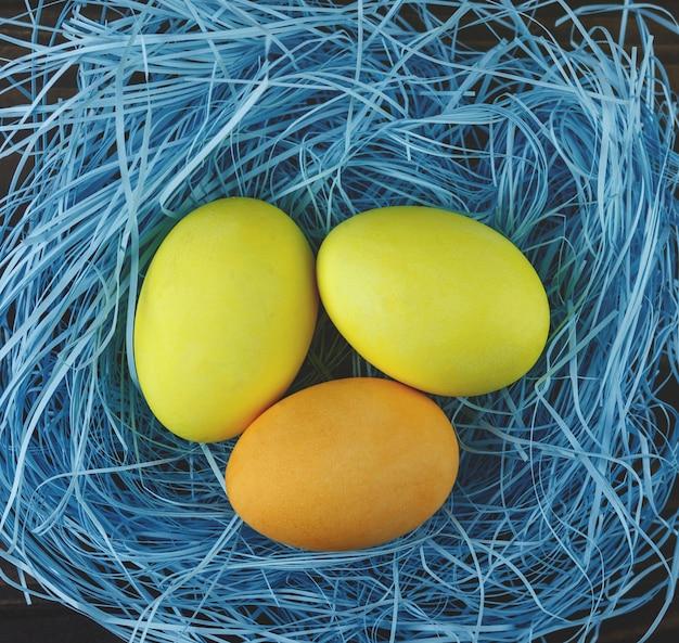 Ovos no ninho azul. conceito de páscoa