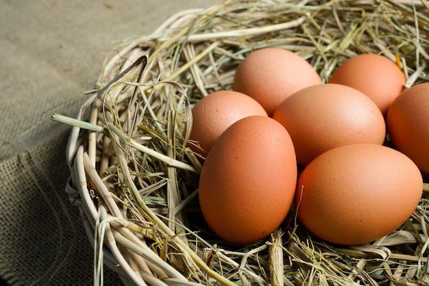 Ovos no pano de saco e na palha do arroz.