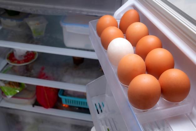 Ovos são colocados em um rack de geladeira