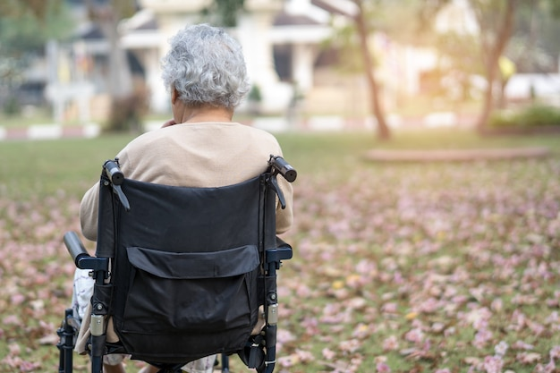 Paciente de mulher idosa asiática sênior ou idosa na cadeira de rodas no parque, conceito médico forte e saudável.