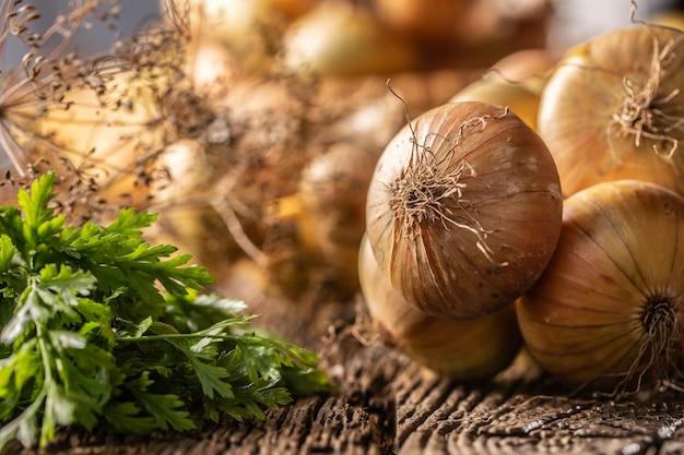 Pacote de cebola seca livremente deitada com ervas de salsa e endro em uma mesa de madeira.
