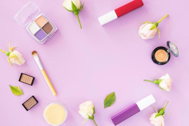 Pacote de cosméticos de beleza em forma de círculo