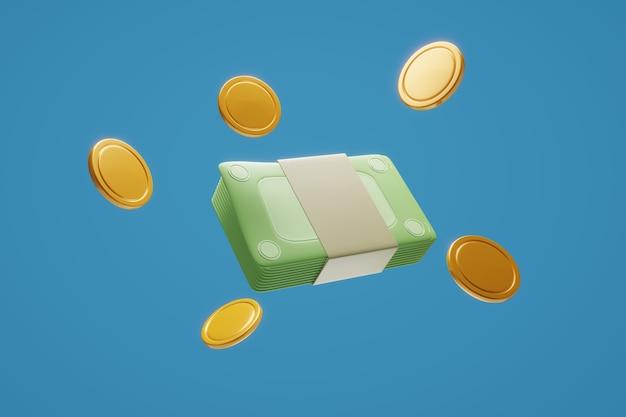 Pacote de dinheiro, notas, lucro de investimento empresarial
