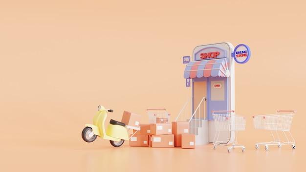 Pacote de entrega rápida por scooter em um telefone celular. encomende pacote no e-commerce pelo app. aplicativo de correio de rastreamento. conceito. ilustração 3d render.