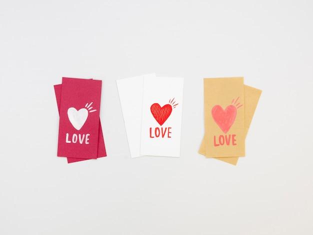 Pacote de etiquetas adoráveis dos namorados