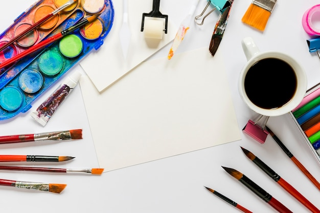 Pacote de ferramentas de artista plana leiga