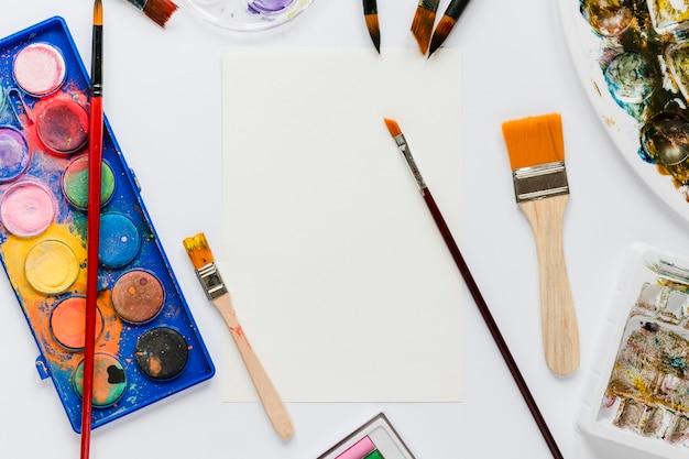 Pacote de ferramentas do artista da vista superior