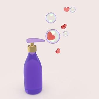 Pacote de garrafa de plástico com bolhas e corações para sabão líquido 3d render