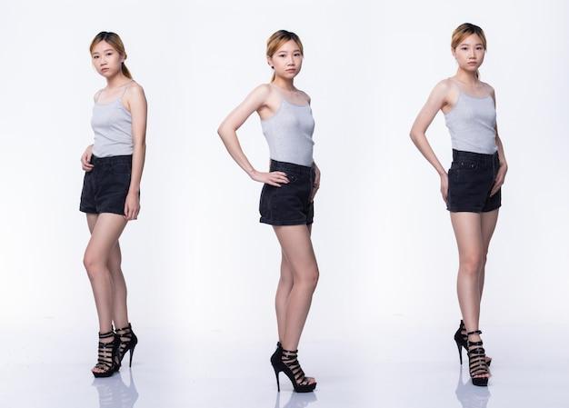 Pacote de grupo de colagem de jovem adolescente mulher asiática cor loira cabelo tingido, camisa grisalha sapatos de salto alto posar com encaixe de corpo inteiro de bom humor otimista. iluminação de estúdio com fundo branco isolado