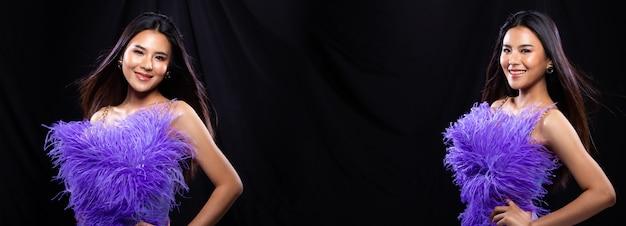 Pacote de grupo de colagem retrato de mulher asiática jovem magra usa vestido de noite de pena roxa