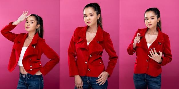 Pacote de grupo de colagem retrato de mulher de negócios asiática usa terno vermelho formal blazzer, aparência inteligente e confiante, iluminação de estúdio fundo rosa isolado, chefe advogado finge sorrir e olhar inteligente